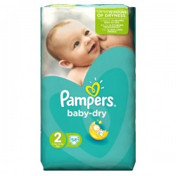 Pack de 58 Couches de Pampers Baby Dry taille 2 sur Tooly