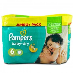 Pack 198 Couches Pampers Baby Dry de taille 6 sur Tooly