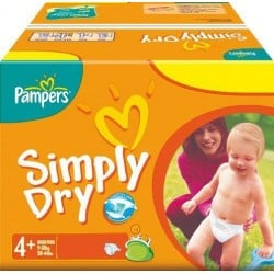 Maxi Pack 280 Couches Pampers Simply Dry taille 4+ sur Tooly