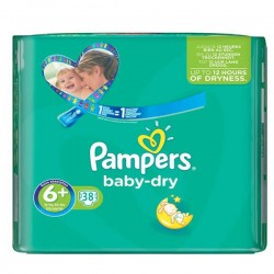 Pack 38 Couches Pampers Baby Dry taille 6+ sur Tooly