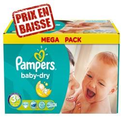 Pack économique d'une quantité de 476 Couches Pampers de la gamme Baby Dry taille 3+ sur Tooly