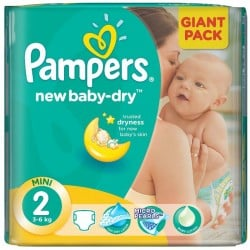 Pack économique 68 Couches Pampers New Baby Dry de taille 2 sur Tooly