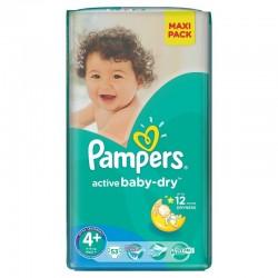 Pack d'une quantité de 53 Couches de la marque Pampers Active Baby Dry taille 4+ sur Tooly