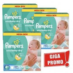 Gros pack jumeaux d'une quantité de 742 Couches Pampers Active Baby Dry taille 4+ sur Tooly