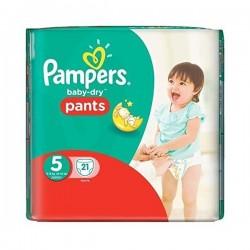 Pack d'une quantité de 21 Couches Pampers Baby Dry Pants taille 5 sur Tooly
