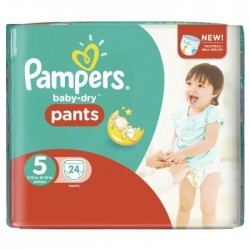 Pack 24 Couches Pampers Baby Dry Pants taille 5 sur Tooly