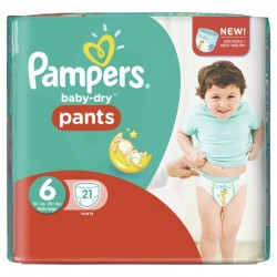 Pack 21 Couches Pampers Baby Dry Pants 6 sur Tooly