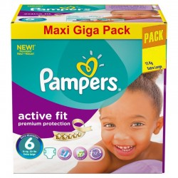 Maxi Giga Pack 248 Couches Pampers Active Fit taille 6 sur Tooly