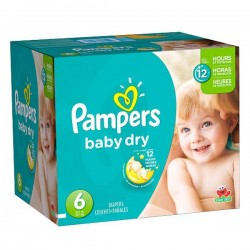 Maxi Pack de 124 Couches Pampers de la gamme Baby Dry taille 6 sur Tooly