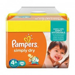 Pack 70 Couches Pampers Simply Dry de taille 4+ sur Tooly